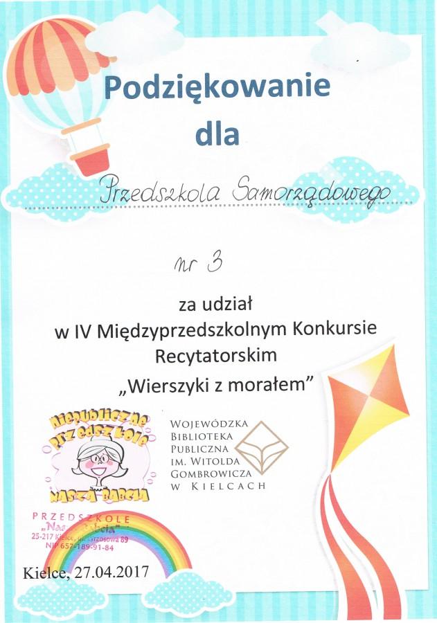 Międzyprzedszkolny Konkurs Recytatorski Wierszyki Z Morałem